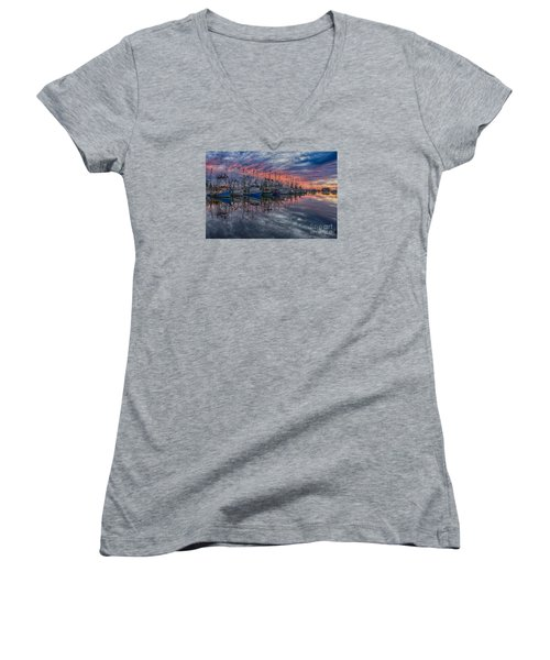 Women's V-Neck T-Shirt (Junior Cut) featuring the photograph Evening Glow by Brian Wright