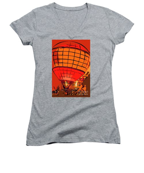 Evening Glow Red And Yellow In Abstract Women's V-Neck (Athletic Fit)