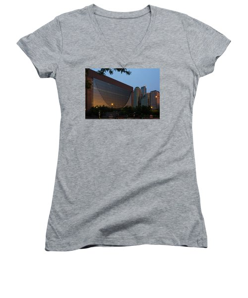 Evening In Downtown Minneapolis Women's V-Neck