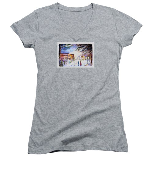 Women's V-Neck T-Shirt (Junior Cut) featuring the painting Evening In Dunnville by Patricia Schneider Mitchell