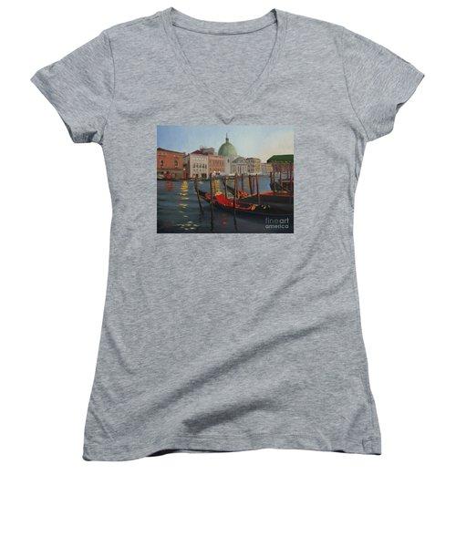 Evening In Venice Women's V-Neck T-Shirt