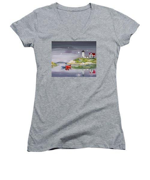 Women's V-Neck T-Shirt (Junior Cut) featuring the painting Evening Lighthouse by Phyllis Kaltenbach
