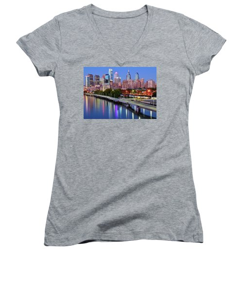 Women's V-Neck T-Shirt (Junior Cut) featuring the photograph Evening Lights On The Delaware by Frozen in Time Fine Art Photography