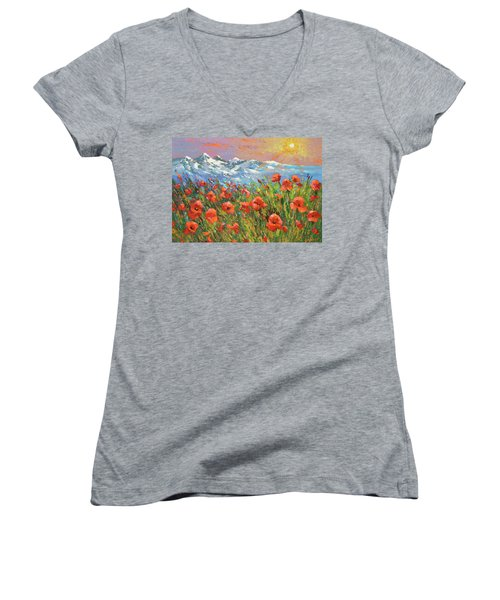 Women's V-Neck T-Shirt (Junior Cut) featuring the painting Evening Poppies  by Dmitry Spiros