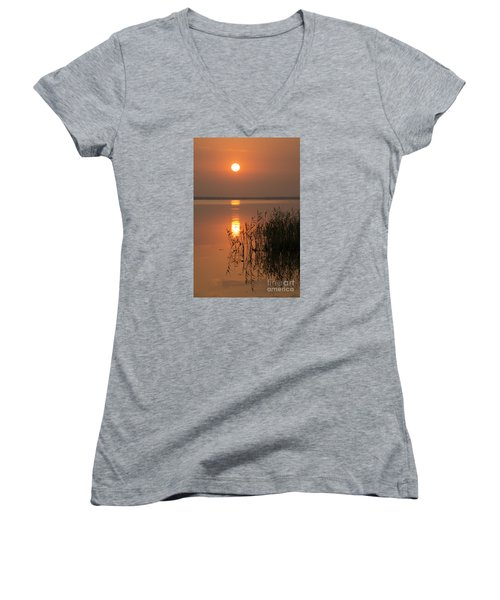 Women's V-Neck T-Shirt (Junior Cut) featuring the photograph Evening Reflections by Inge Riis McDonald