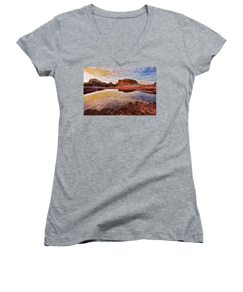 Evening Reflections  Women's V-Neck T-Shirt (Junior Cut) by Nicki Frates