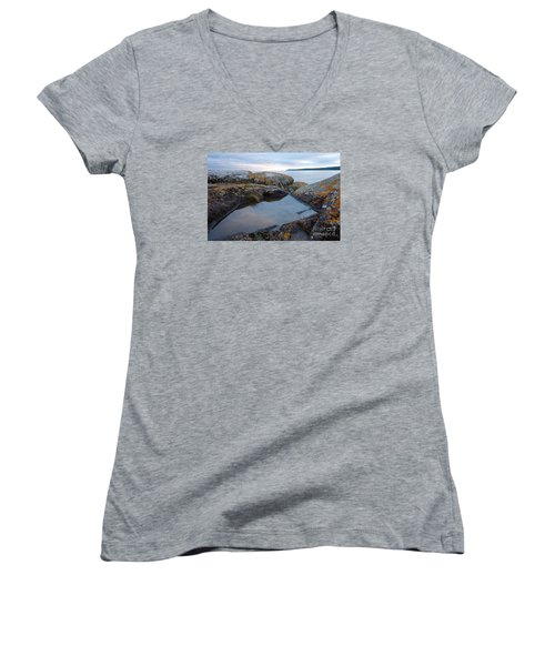 Women's V-Neck T-Shirt (Junior Cut) featuring the photograph Evening Reflections by Sandra Updyke