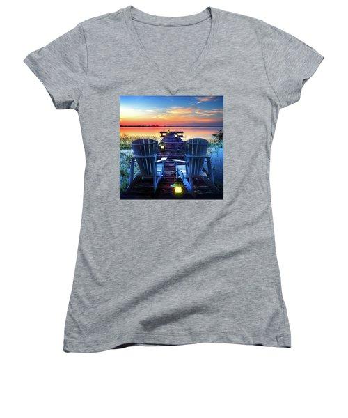 Women's V-Neck T-Shirt (Junior Cut) featuring the photograph Evening Romance by Debra and Dave Vanderlaan