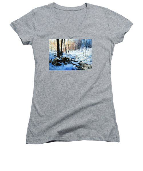 Women's V-Neck (Athletic Fit) featuring the painting Evening Shadows by Hanne Lore Koehler