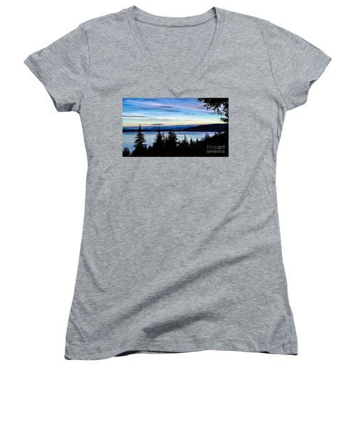 Evening Sky Women's V-Neck T-Shirt (Junior Cut) by William Wyckoff