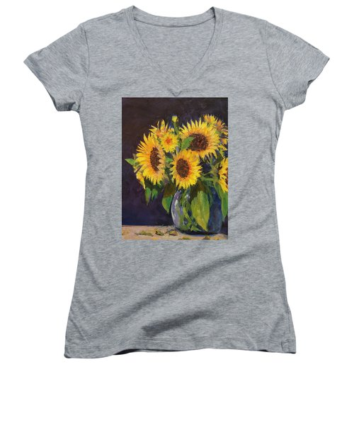 Evening Table Sun Flowers Women's V-Neck (Athletic Fit)