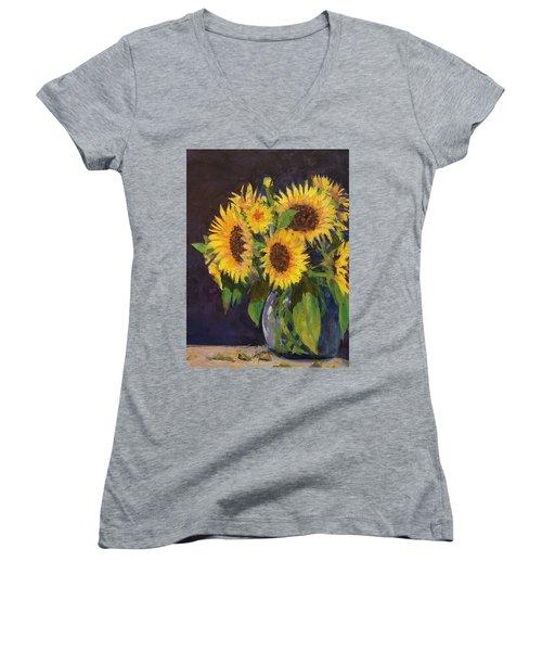 Evening Table Sun Flowers Women's V-Neck T-Shirt