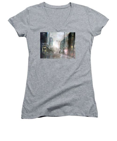 Women's V-Neck T-Shirt (Junior Cut) featuring the painting Evening Walk In The Rain by Raymond Doward