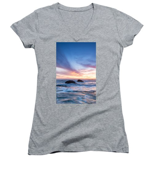 Women's V-Neck T-Shirt (Junior Cut) featuring the photograph Evening Waves by Catherine Lau