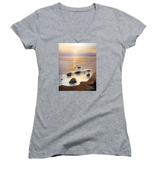 Women's V-Neck T-Shirt (Junior Cut) featuring the painting Eventide by Michael Rock