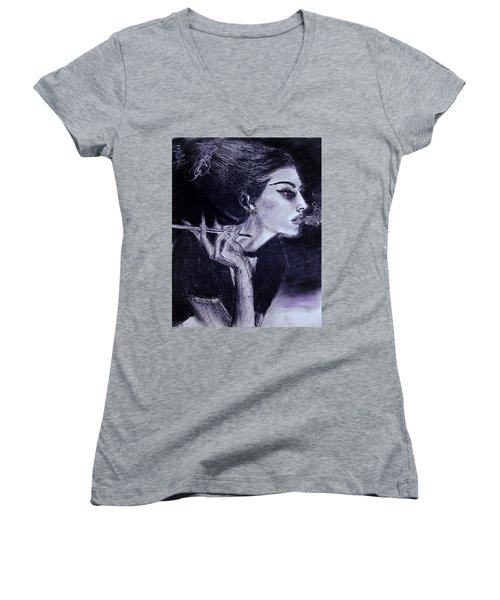 Women's V-Neck T-Shirt featuring the drawing Ever Dream by Jarko Aka Lui Grande