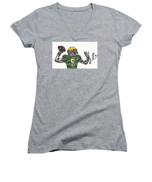 Everett Golson 1 Women's V-Neck T-Shirt (Junior Cut) by Jeremiah Colley