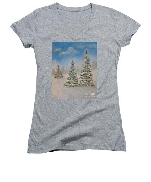 Evergreens In Snow  Women's V-Neck T-Shirt