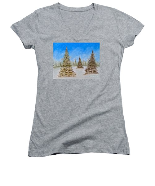 Evergreens In Snowy Field Enhanced Colors Women's V-Neck T-Shirt