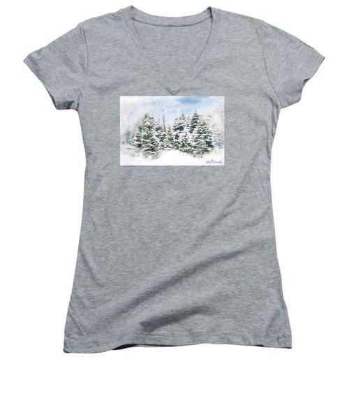 Women's V-Neck T-Shirt (Junior Cut) featuring the digital art Evergreens by John Selmer Sr