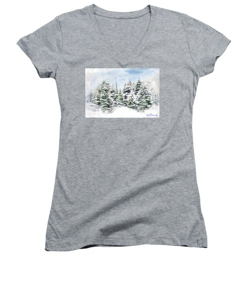 Evergreens Women's V-Neck T-Shirt (Junior Cut) by John Selmer Sr