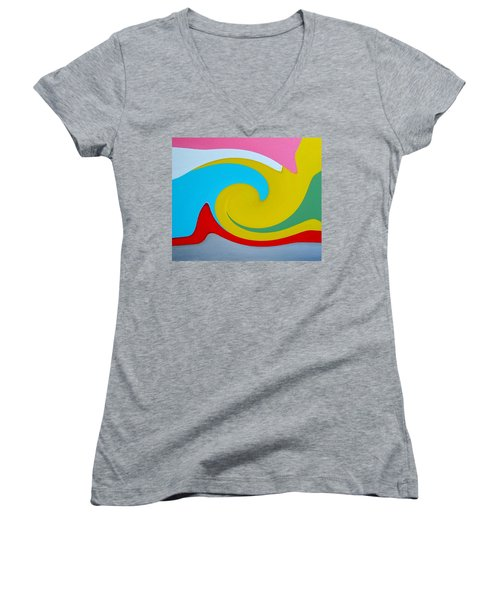 Women's V-Neck T-Shirt (Junior Cut) featuring the digital art Everybody Has A Cousin In Miami Two by Dick Sauer