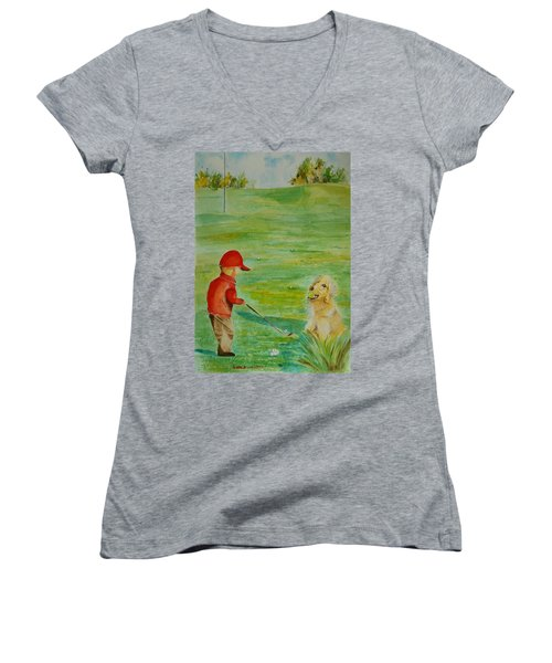 Everything Waits While I Golf Art Women's V-Neck T-Shirt (Junior Cut) by Geeta Biswas