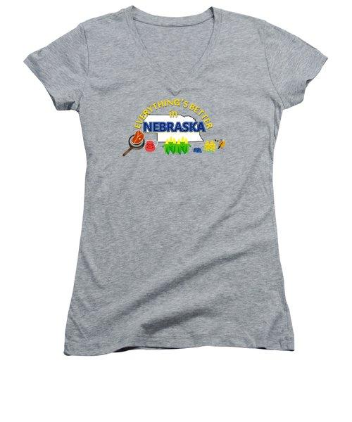 Everything's Better In Nebraska Women's V-Neck T-Shirt (Junior Cut) by Pharris Art