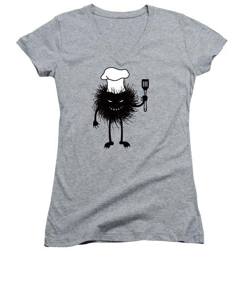 Evil Bug Chef Loves To Cook Women's V-Neck T-Shirt (Junior Cut)