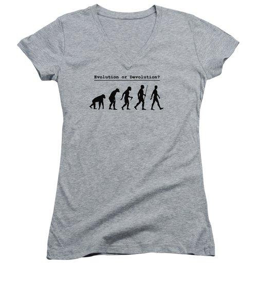 Evolution Or Devolution Women's V-Neck (Athletic Fit)