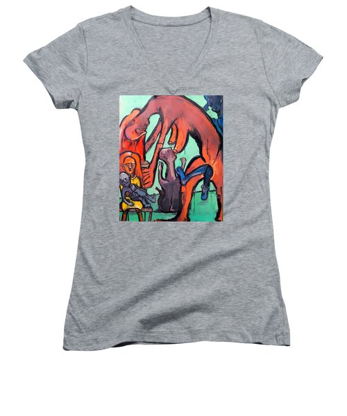 Women's V-Neck T-Shirt (Junior Cut) featuring the painting Evolution Stuck - Fertility by Kenneth Agnello