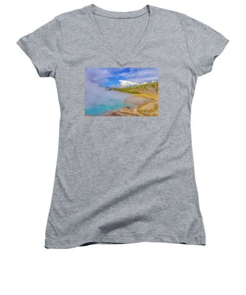 Excelsior Geyser Crater Yellowstone Women's V-Neck T-Shirt