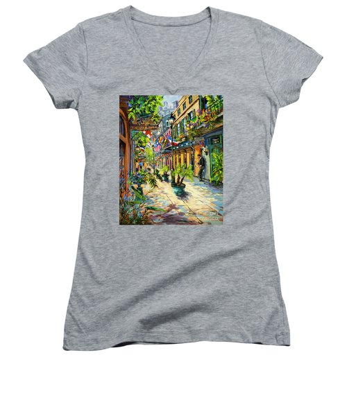 Women's V-Neck T-Shirt (Junior Cut) featuring the painting Exchange Alley by Dianne Parks