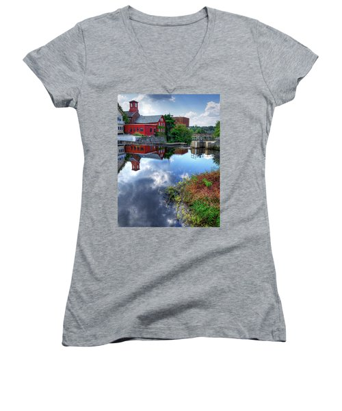 Exeter New Hampshire Women's V-Neck T-Shirt (Junior Cut) by Rick Mosher