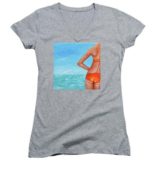 Exhale Softly Women's V-Neck T-Shirt (Junior Cut) by Donna Blackhall