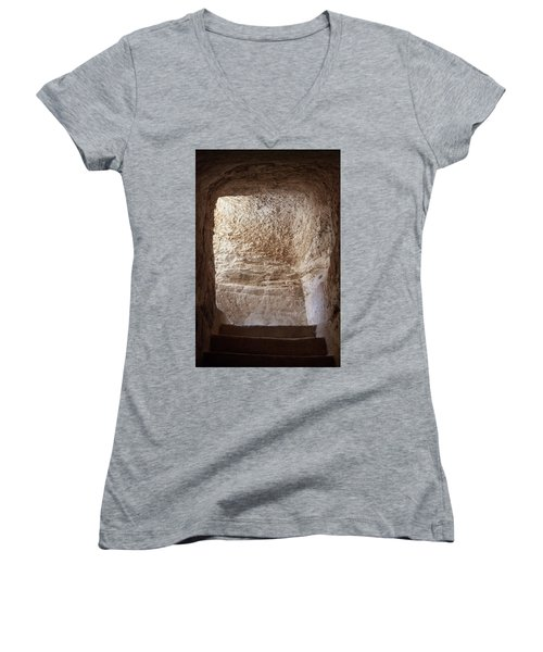 Exit To The Light Women's V-Neck T-Shirt (Junior Cut) by Yoel Koskas
