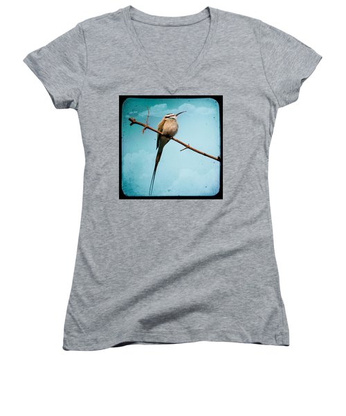 Women's V-Neck featuring the photograph Exotic Birds - White Throated Bee Eater by Gary Heller