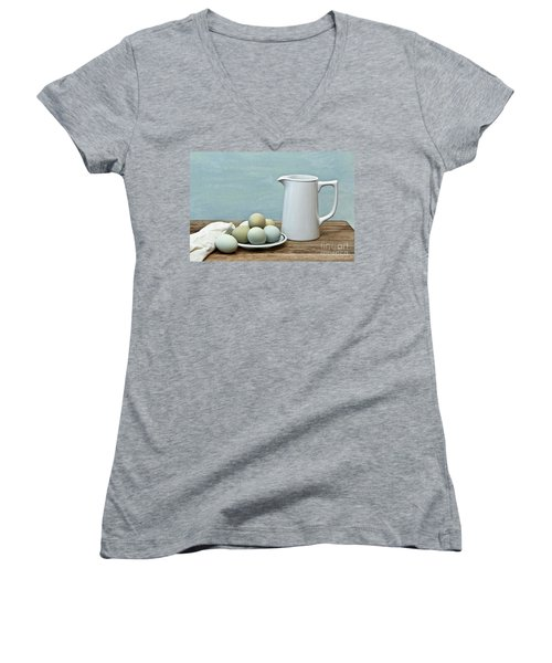 Exotic Colored Eggs With Pitcher Women's V-Neck T-Shirt (Junior Cut) by Pattie Calfy