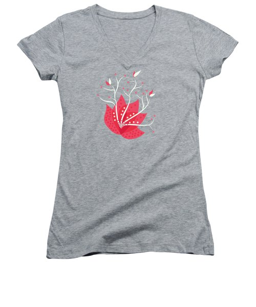 Exotic Pink Flower And Dots Women's V-Neck T-Shirt (Junior Cut)