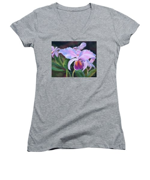 Exotic Pink Orchid Women's V-Neck