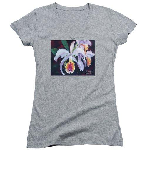 Exotic White Orchid Women's V-Neck