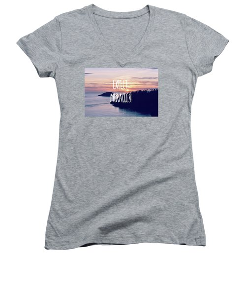 Women's V-Neck T-Shirt (Junior Cut) featuring the photograph Expect Miracles by Robin Dickinson