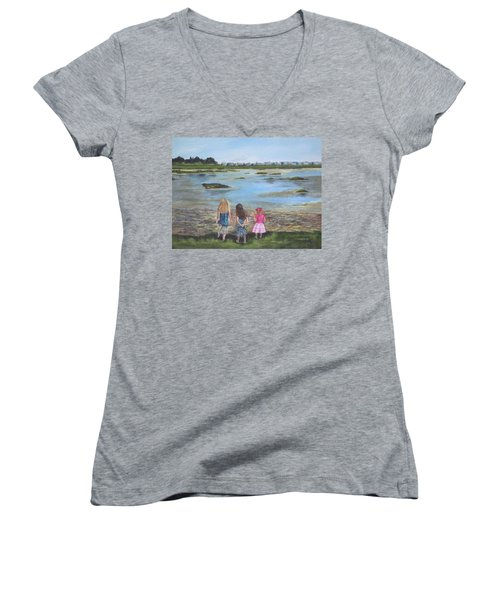 Exploring The Marshes Women's V-Neck T-Shirt