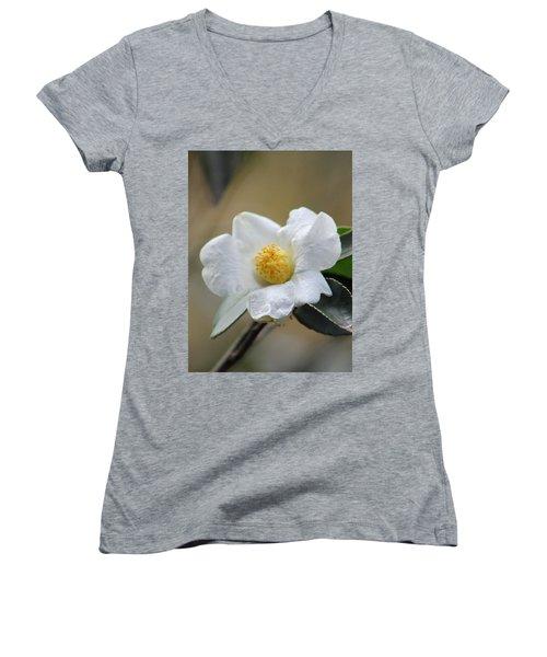 Women's V-Neck T-Shirt (Junior Cut) featuring the photograph Exposed by Deborah  Crew-Johnson