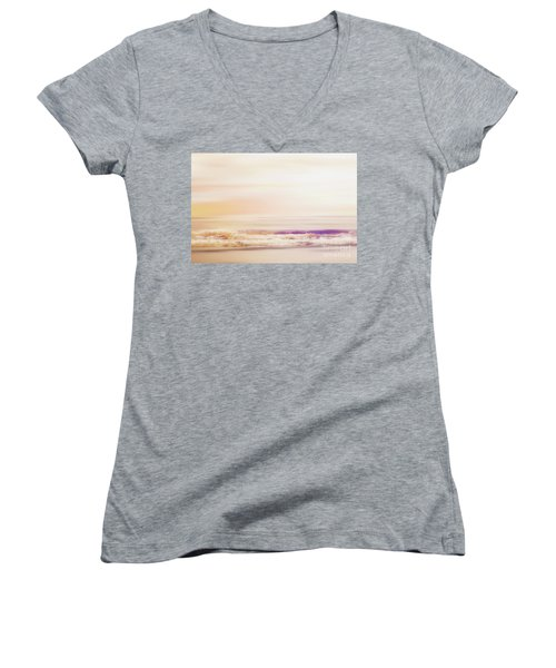 Expression - Dreams On The Shore Women's V-Neck T-Shirt (Junior Cut) by Janie Johnson