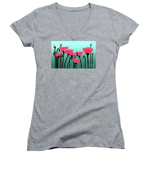 Expressive Red Pink Green Poppy Painting Y1a Women's V-Neck