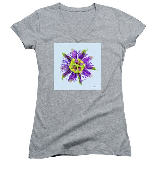 Expressive Yellow Green And Violet Passion Flower 50674b Women's V-Neck