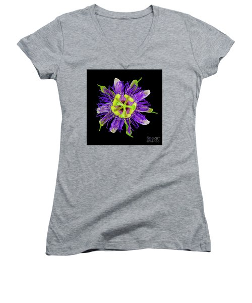 Expressive Yellow Green And Violet Passion Flower 50674c Women's V-Neck (Athletic Fit)