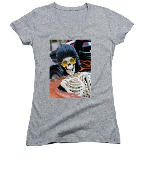 Women's V-Neck T-Shirt (Junior Cut) featuring the photograph Eye Contact by Chris Dutton