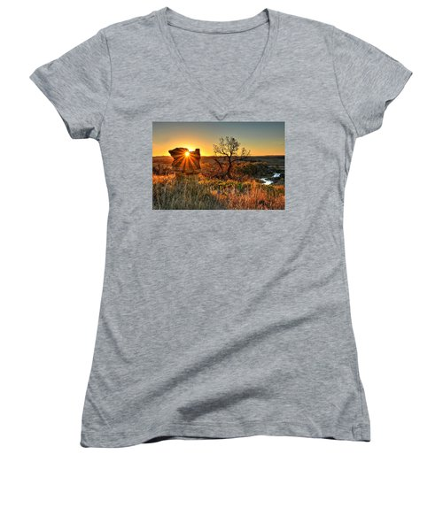 Women's V-Neck featuring the photograph Eye Of The Monolith by Fiskr Larsen